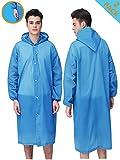 HLK.Sports Rain Coats, [2 Pack] EVA Reusable Rain Coat Jacket with Hood, Size 59' by 27.5' (C-Light Blue)
