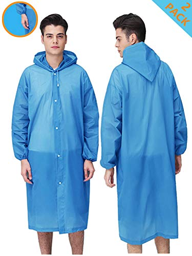 - HLK.Sports Upgraded Rain Poncho, 2 Pack Waterproof Reusable Adult Rain Coat Jacket with Hoods and Sleeves for Outdoor Activities (C-Blue)