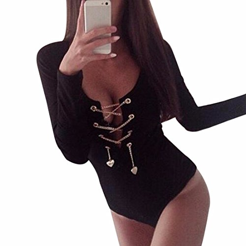 Ai.Moichien Women's Metal Chain Sexy V Neck Long Sleeve Bodycon Rompers Black Summer Tops Tee -
