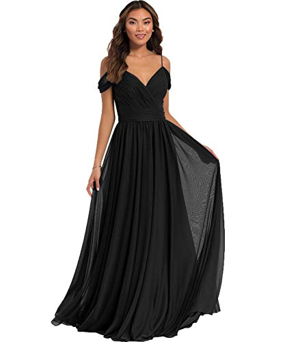 Yilis Women's Formal A Line Cold Shoulder V Neck Pleated Chiffon Evening Dress Long Prom Party Bridesmaid Dress Black US14