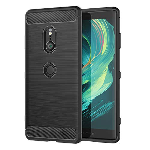 MoKo Sony Xperia XZ3 6.0 Case, Soft Lightweight TPU Bumper Cover Carbon Fiber Design Anti-Scratch Slim Back Panel Shock Aborsption Cellphone Shell Replacement for Sony Xperia XZ3 6.0 - Black