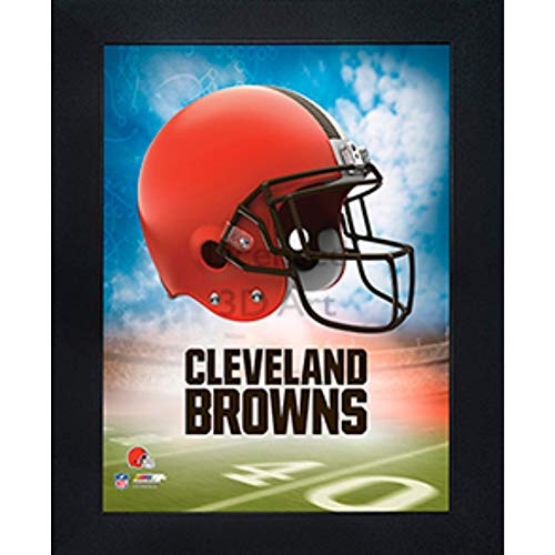 Cleveland Browns 3D Poster Wall Art Decor Framed Print | 14.5x18.5 | Lenticular Posters & Pictures | Memorabilia Gifts for Guys & Girls Bedroom | NFL Football Team Sports Fan Pictures for Man Cave
