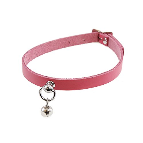 Pawstar Mini Kitty Bell Collar Leather Choker - Pink -