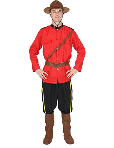 [Mens Canadian Mountie Police Red Uniform Outfit Halloween Costume Extra Large] (Mountie Uniform)