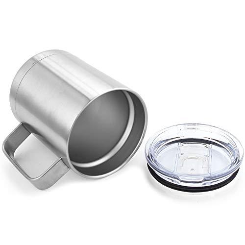 Coffee Mug - Double Wall Insulated Stainless Steel Coffee Mugs (silver-14oz) ()