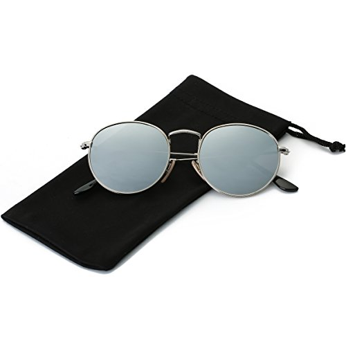 LKEYE Small Unisex Classic Vintage Round Mirror Lens Polarized Sunglasses LK1702 Silver Frame/Silver Lens (Mirror Round Silver)