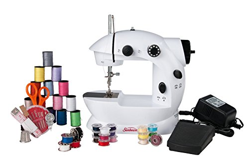Sunbeam Mini Portable Sewing Machine AC Adapter Foot Pedal And Over 75 Piece Sewing Kit Included, Drop In Bobbin For Easy Set Up, Double Thread and Speed, Pre Threaded Ready To Use, Battery Operated As Well