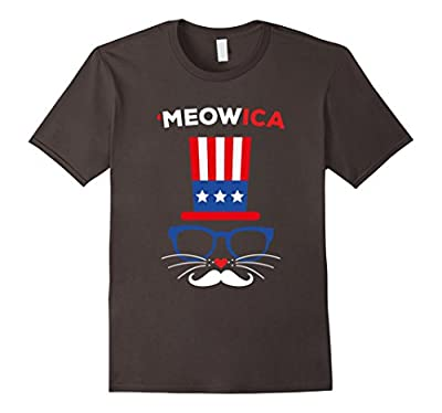 'Meowica Funny Cat T-Shirt 4th Of July Shirt - Unisex