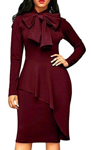 Bodycon Wine Red Jaycargogo Tie Sleeve Womens Peplum Dress Long Waist Neck High nP8wBvq