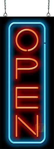 Deluxe Open Vertical Neon Sign - Red & Blue