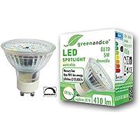 greenandco® CRI 90+ dimbare LED-spot vervangt 50W GU10 5W 410lm 3000K warm wit 110° 230V, flikkervrij