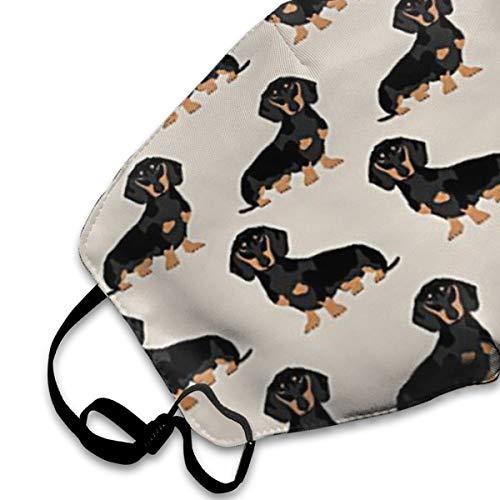 Garde Art Studio Premium Men Women Breathable Indoor Outdoor Half Face Mask - Adjustable Dustproof Anti Pollution Safety Mask Wiener Dog Fabric Doxie Dachshund Weiner Dog Pet Dogs
