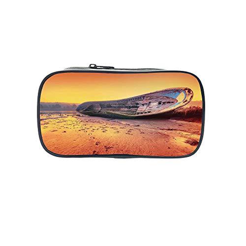 Diversified Style Pen Bag,Ocean Decor,Panoramic Tropical Beach Exotic Sand Vacations Decorative,for Children,3D Print (Panoramic Sugar)
