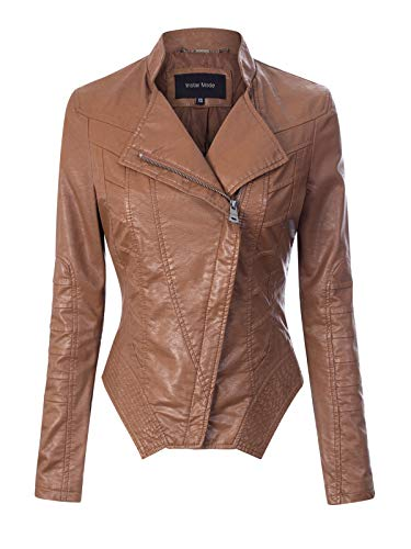Instar Mode Women's Fashion Motorcycle Asymmetrical Cropped Faux Leather Jacket Camel XS