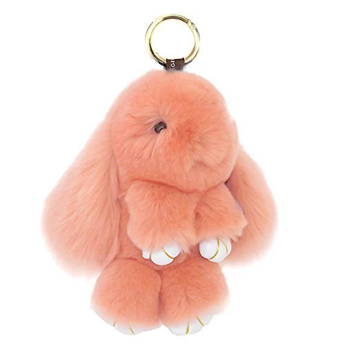 CHUANGLI Soft and Lovely Rabbit Doll Bunny Keychain Fur Plush Keyfob Decor for Car Accessories Peachy (Soft Bunny)