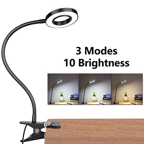 LED Lampara De Mesa Escritorio, Luz De Lectura Con Abrazadera USB Portatil Flexible Regulable Con 3 Modos De Iluminacion y 10 Niveles De Brillo Para Oficina Dormitorio Lectura Estudiar 7w (Negro)