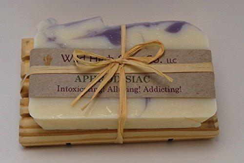 - Aphrodisiac Natural Soap Bar tied to pine soap dish