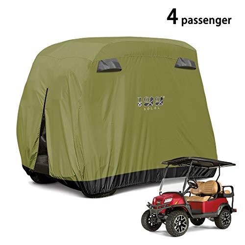 10L0L 4 Passenger Golf Cart Cover Fits EZGO, Club Car and Yamaha, 600D Waterproof with Extra PVC Coating Sunproof Dustproof Black Army Green (Golf Cart Covers Yamaha)