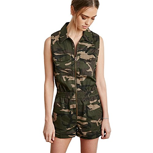 Escalier Women`s Sleeveless Navy Camouflage Full Zip Camo Printed Short Jumpsuit