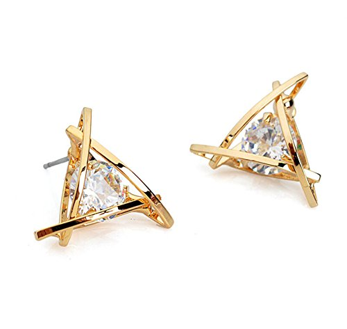 Pierced Crystal (Fashion Exquisite Triangle Pierced Crystal Zircon Stud Earrings)