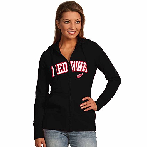 Detroit Red Wings Applique Womens Zip Front Hoody Sweatshirt (Color: Black) - (Antigua Detroit Red Wings Jacket)