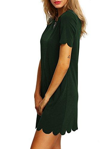 rond Courte Robe Soiree Manche Casual Robe Robe Vert Style Col DIDK Femme tunique Robe txq6FIwfYY