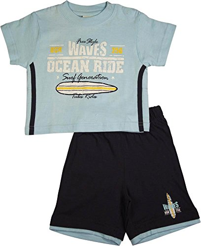 Short Shorts Ride Sleeve (Mish - Baby Boys Waves Ocean Ride Short Sleeve Short Set, Light Blue, Navy 17813-6Months)