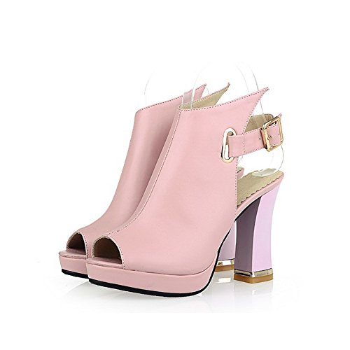 AgooLar Women's Soft Material Peep Toe High-Heels Buckle Solid Sandals Pink M6tnzB3