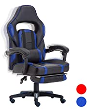 FAYEAN Ergonomic Racing Gaming Leather Chair Swivel PU Leather Home Office Computer Desk Chair with Retractible Footrest, Recliner and Lumbar Cushion