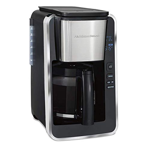 Hamilton Beach Programmable 12 Cup Coffee Maker, Easy Front Access Deluxe, Brew Options, Black and Stainless (46320), (Renewed) Deluxe 12 Cup Coffee Maker