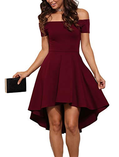 - Sidefeel Women Off Shoulder Sleeve High Low Skater Dress Small Wine Red