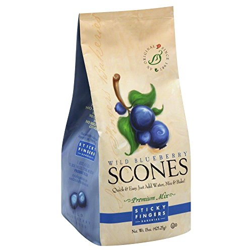 Blueberry Scone - Pack of 6, 15 oz Sticky Fingers Bakeries Bulk Scone Mix: Just Add Water Scone Mixes (Wild Blueberry)