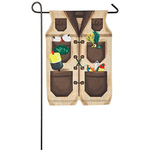 Evergreen Gone Fishing Outdoor Safe Double-Sided Burlap Garden Flag, 12.5 x 18...
