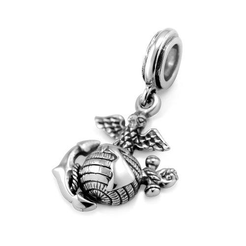 925 Sterling Silver USMC Marine Corps Dangle Bead Charm Fit Major Brand Bracelet