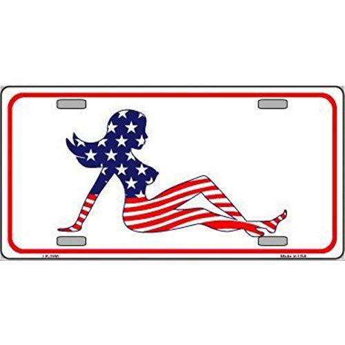 Mud American Flag Flap (YING XUE Patriotic American Flag Mud Flap Girl Novelty Vanity Metal License Plate Tag Sign)