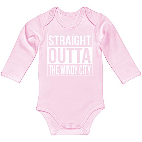 Indica Plateau Baby Romper Straight Outta The Windy City Light Pink for Newborn Long-Sleeve Infant Bodysuit