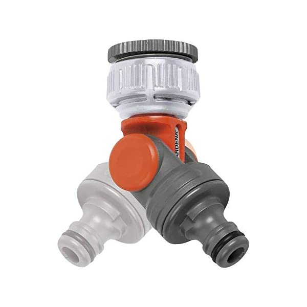41OQQVPEYhL Gardena Winkelhahnstück: Winkelanschluss für 26.5 mm (G3/4 Zoll)-Wasserhahn mit 33.3 mm (G1 Zoll)-Gewinde, 21 mm (G1/2…
