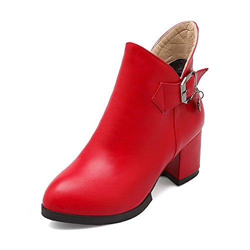 AllhqFashion Mujeres Cremallera Puntera Redonda Tacón ancho Tobillo Botas con Colgantes Rojo