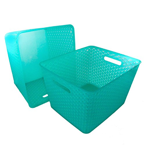 Basket Weave Plastic Storage Bin Set of 2 (13.75 x 11 x 9, Turquoise)