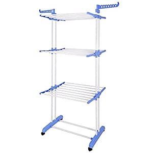BonBon 3 Tier Clothes Drying Rack Folding Laundry Dryer Hanger Compact Storage Steel Indoor Outdoor (Grey) (White)