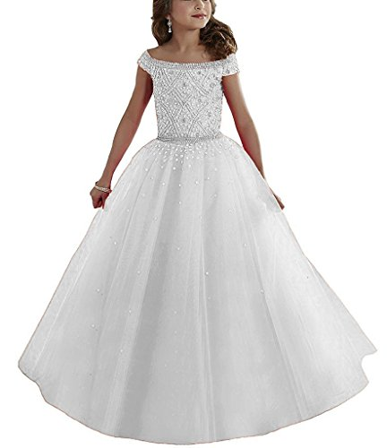 Aurora Bridal Ball Gown First Communion Flower Girl Dresses Evening Gowns White 5
