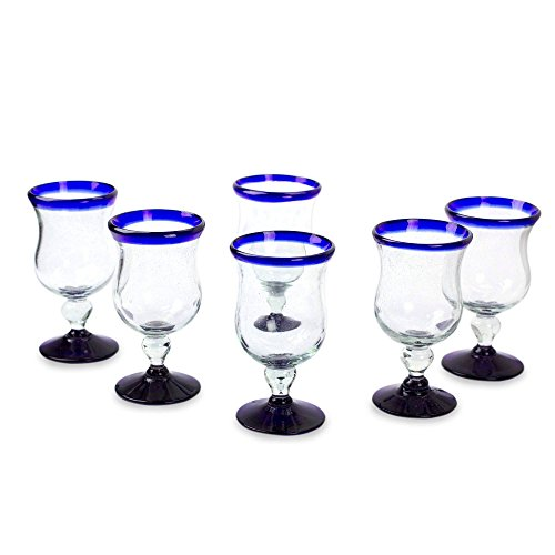 NOVICA Artisan Crafted Clear Blue Rim Hand Blown Recycled Glass Wine Glasses, 7 oz, Spring' (set of 6)