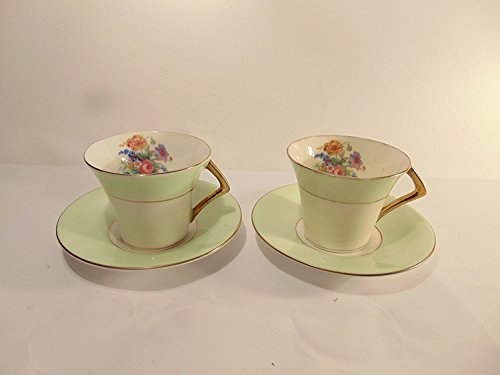 Genuine Bone China Colclough Mint Green Band with Flowers and Gold Accent Trim Cup and Saucer, Set of 2 (Genuine Bone China)