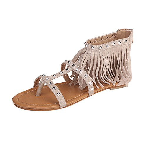 Small Fresh Feminine Charm Simple Women Ladies Girl Solid Rivet Tassels Ring Nail Tassel Flat Heel Sandals Rome Shoes Breathable Massage Lightweight Soft Black,Brown,Beige Summer Beige