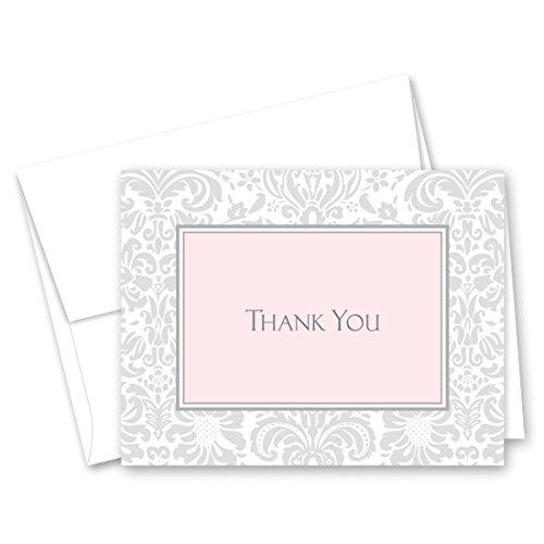 Shower Damask Pink Bridal (50 Cnt Grey Pink Damask Baby Shower or Bridal Shower Thank You Cards)