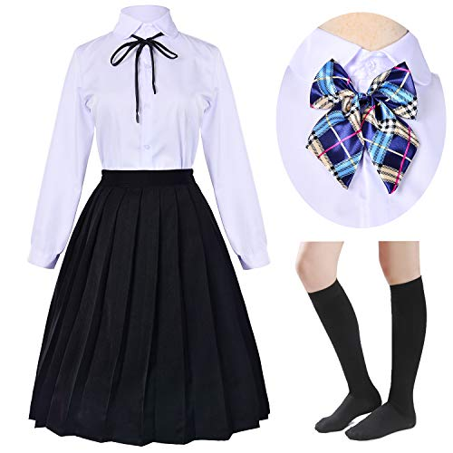 Long Dress Classic Japanese School Girls Sailor Shirts Pleated Skirt Uniform Anime Cosplay Costumes with Socks Set(Black)(4XL = Asia 5XL)(SSF21BK)
