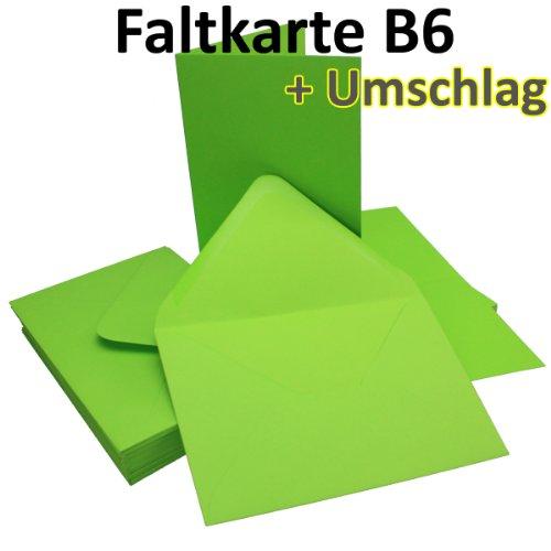 50 Sets - Faltkarten HELL-GRÜN - DIN B6 + Umschläge - PREMIUM QUALITÄT - sehr formstabil - Qualitätsmarke: NEUSER FarbenFroh