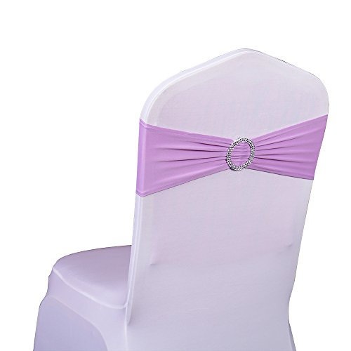 SINSSOWL Pack of 50PCS Elastic Slider Chair Sashes Spandex Chair Cover Band Bows for Wedding Decoration-Lilac