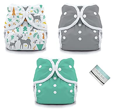 Thirsties Duo Wrap Snaps Diaper Covers 3 pack Combo: Fin, Moss Green, Woodland Sz 2