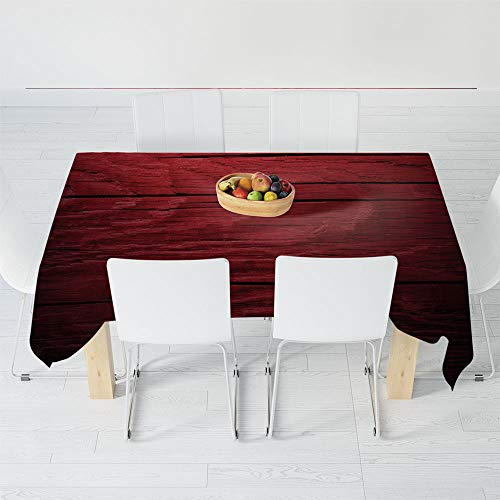 Custom Tablecloth,Maroon,for Home & Office & Restaurant Table Tea Table,40.2 X 30.3 Inch,Wooden Planks Timber Board Ancient Tree Texture ()